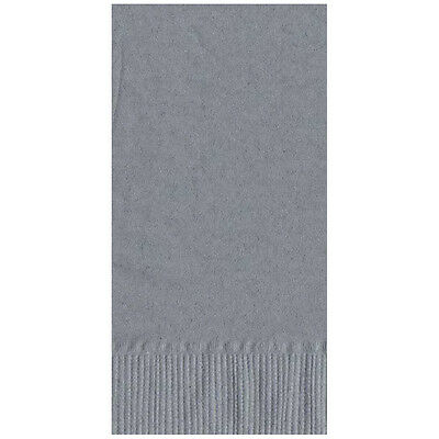 50 Plain Solid Colors Dinner Hand Towel Napkins Paper - Silver