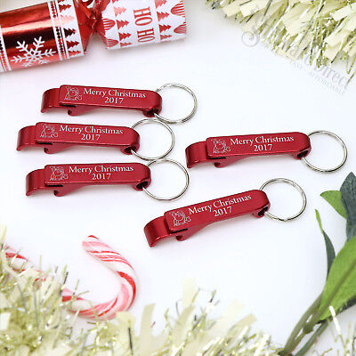 100 x Red Engraved Keyring Bottle Opener Christmas Business Gift Stall Wholesale