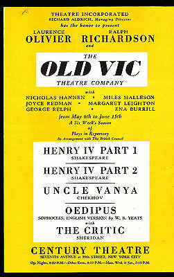 The Old Vic Theatre Company ad brochure- Laurence Olivier