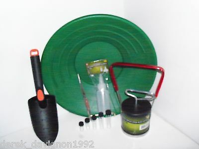 "14"" Panning Green Gold Pan , Black Sand Separater Magnet, Tweezers And 5 Vials"
