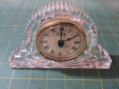 6D22 Crystal Legends By Godinger Desk Clock, Made In Taiwan, Lead Crystal
