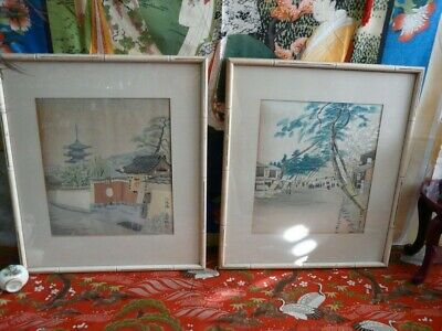 Lovely Pair of Asian Watercolor Paintings Vintage Village Scenes Artist Signed