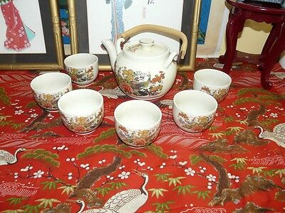Lovely Satsuma Style Japanese Tea Set w 6 cups in fabulous Condition Hallmarked