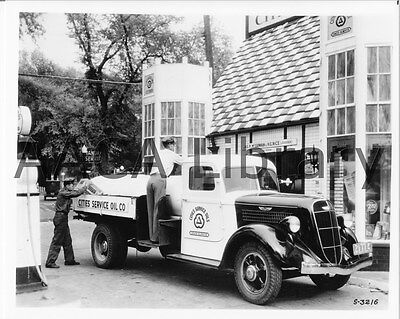 1937 Studebaker J20 Tanker Truck Gas Station Factory Photo Amoco #77975