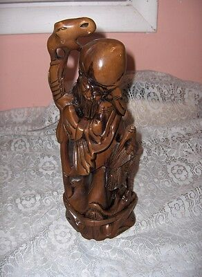 Vintage Carved Wood Sculpture Statue Old Chinese Wise Man Stick  Bird Stork NICE
