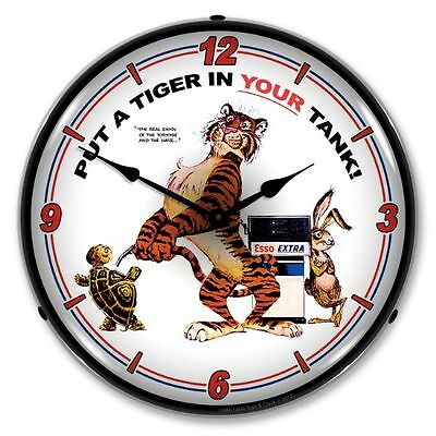 New Esso Tiger   Backlit Lighted Retro Advertising Clock - Free Shipping*