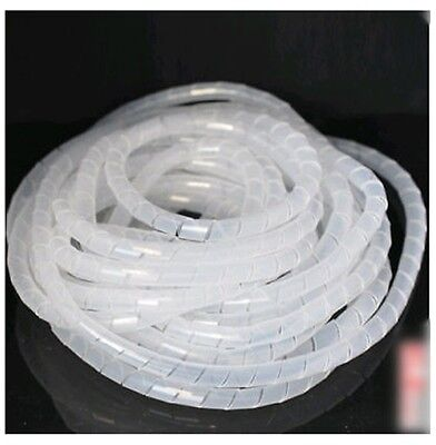 WT04# 32.8FT (10M)  Spiral Cable Wire Wrap Tube Computer Manage Cord 10mm clear