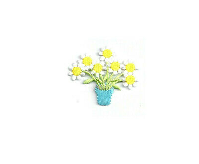FLOWER POT W//SPRING FLOWERS EMBROIDERED IRON ON APPLIQUE PATCH C