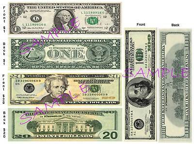 3 Set-U.S. MONEY BOOKMARKS $1-$20-$100 Fake Dollar Novelty Bill Play Funny Card