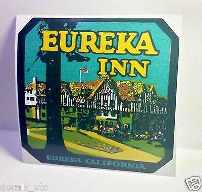 Eureka Inn California Vintage Style Travel Decal / Vinyl Sticker, Luggage Label