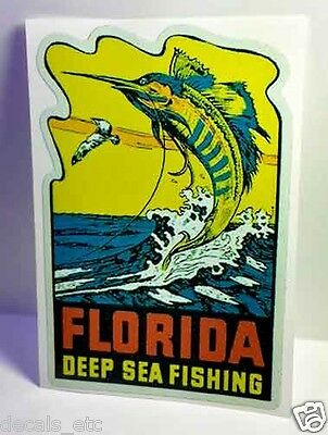 Florida Deep Sea Fishing Vintage Style Travel Decal / Vinyl Luggage Sticker