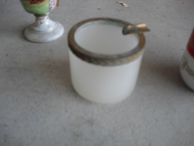 """Vintage Small Glass and Brass Ashtray 1 3/4"""" Tall"""