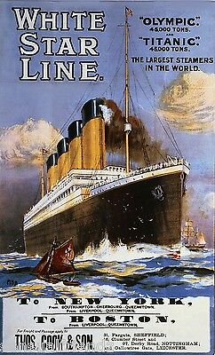 Titanic White Star Ship Ocean Liner Memorabilia advertising poster UK ad 1912 5