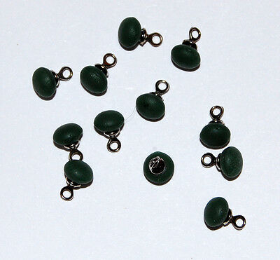 VINTAGE ANTIQUE TINY GREEN FROSTED GLASS BABY DOLL BUTTON BEAD 5mm  BUTTONS