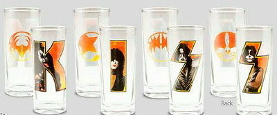 Kiss Rock Band Members and Logos 10 Ounce Glass Set of 4, NEW UNUSED