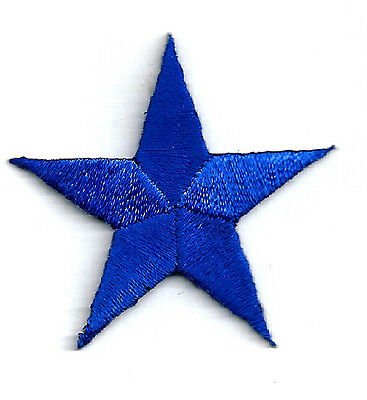 "( ONE DOZEN - 12 ) 1 5/8"" (4cm) ROYAL BLUE EMBROIDERED STARS IRON ON PATCHES"