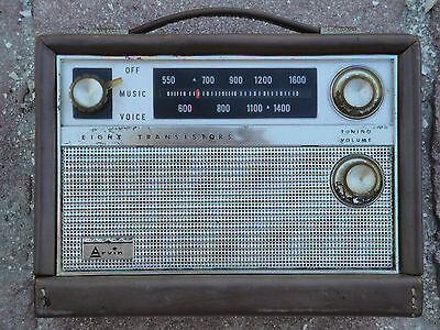 """Vintage ~ Arvin Transistor Radio, 1960's or before, size approx 8"""" X 6"""" X 3"""""""