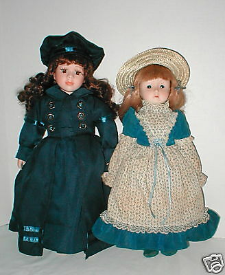 """Vintage 1970's bisque 16"""" & 15"""" girls in orig.outfits"""