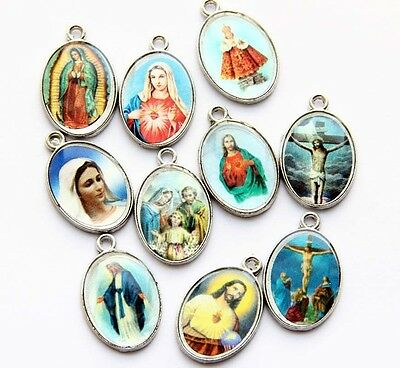 10Pcs Acrylic Metal Madonna & Christian Jesus Beads Finding-Picture Random