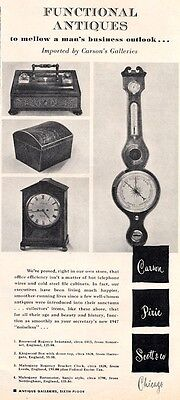 1947 Carson Galleries PRINT AD Features Antique Rosewood Kingwood box Clock &  +