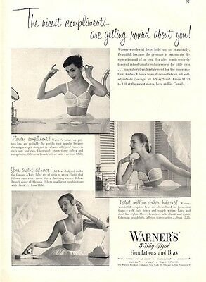 1951 Warner PRINT AD features: Vintage Foundations and Bra lingerie underware