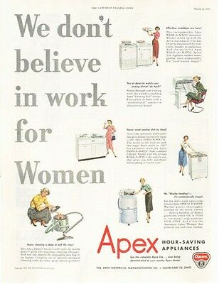 "1953 Apex Appliance ""Work for Work"" PRINT AD"