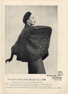 1949 Bergdorf Goodman Coin of the Realm Coat PRINT AD