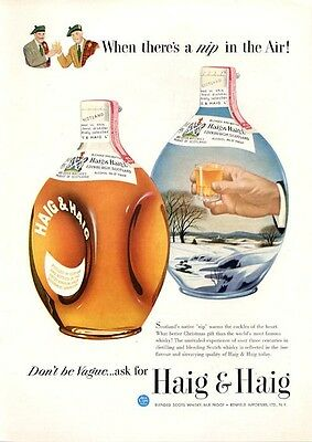 1949 Haig & Haig PRINT AD Feature: image of two bottles winter snow theme