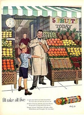 1947 Life Savers PRINT AD features Grocery man helping boy Paul at Fruit stand
