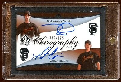 Matt Cain Tim Lincecum Rc Dual Auto 175/175 2007 Sp Authentic Chirography  Rare