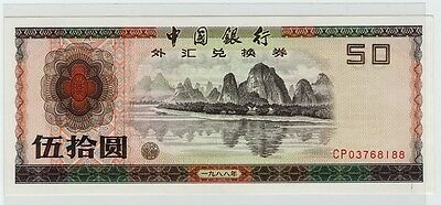 Rare Bank of China 50 Yuan 1988 Foreign Exchange Certificate FEC Banknote Note