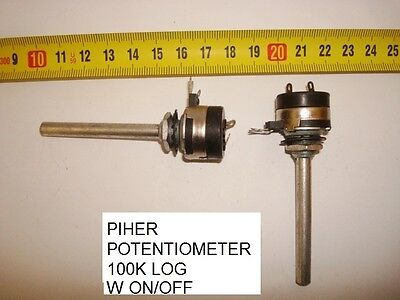 Potenciometro  Carbon Piher Potentiometer.100K Log W On/off.  P15