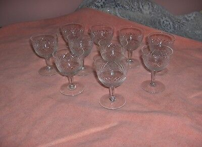 5 Antique Vintage Fine Crystal Cut Diamond Cocktail Liqueur Glasses Germany