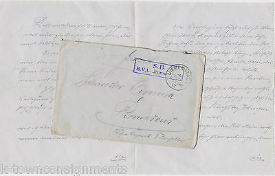 Wwi Germany Original Signed & Stamped Correspondence Letter & Mail Cover 1917