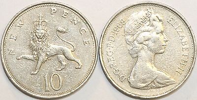 1968 to 1981 Elizabeth II Cupro Nickel Decimal Large 10p Your Choice of Date