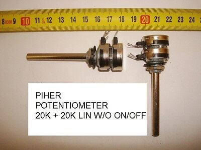 Potenciometro  Carbon Piher Potentiometer.20K + 20K Lin S/i W/o On/off. P6