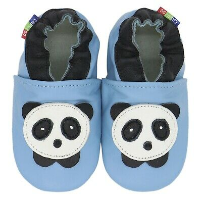 carozoo panda baby blue 5-6y soft sole leather kids shoes