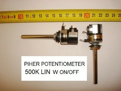 Potenciometro Carbon  Potentiometer. Piher 500K Lin W On/off - 2A - 250V. P12