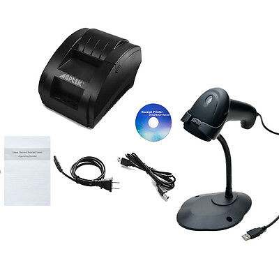 58mm USB Thermal Receipt POS 384 Line Dot Printer Auto Laser Barcode Scanner Set