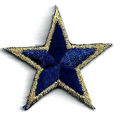 "( ONE DOZEN - 12 ) Stars Navy Blue/Gold Metallic 1 5/8"" (4cm) Iron On Patches"
