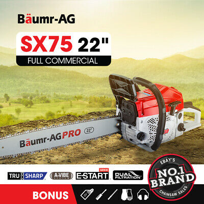 "NEW 76cc Baumr-AG Commercial Petrol Chainsaw E-Start 24"" Bar Tree Pruning 5.1 HP"