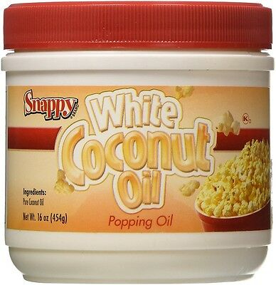 Popcorn Machine supplies - Pure (White) Coconut Oil - 16oz jar