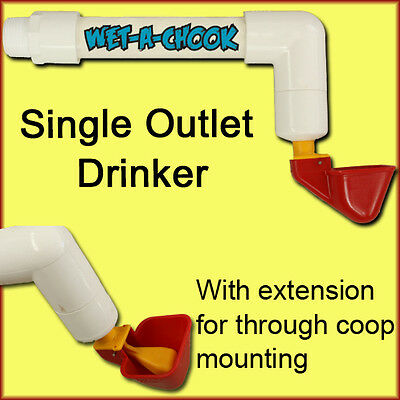 Single Cup Drinker / Waterer c/w Extension  for 2-4 Layers Chickens / Poultry