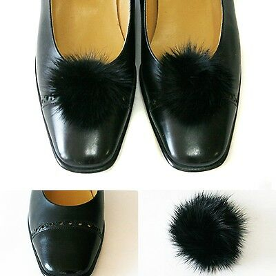 Real Mink Fluffy Fur Big Ball Shoe Clips - Black color