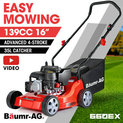 "NEW Baumr-AG 16"" Lawn Mower 139cc Push Lawnmower 5HP 4 Stroke Engine Catch"