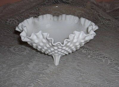 Vintage Fenton Milk Glass Footed Hobnail Ruffled Crimped Trinket Candy Dish Bowl