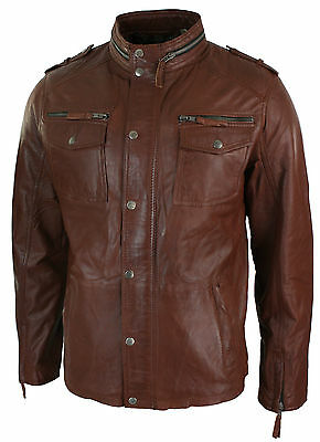 Mens Tan Brown Retro Biker Style Jacket Real Leather Soft Touch Vintage look