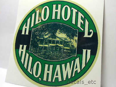 Hilo Hotel Hawaii Vintage Style Travel Decal / Vinyl Sticker, Luggage Label