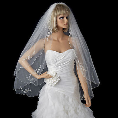 White or Ivory Double Layer Floral Applique Fingertip Scalloped Edge Veil