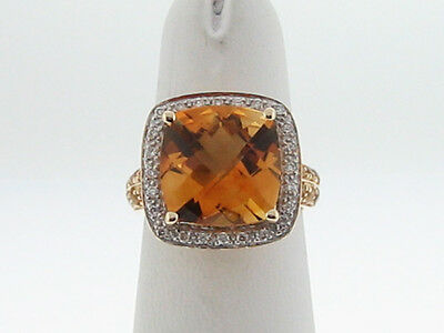 Estate Natural Fine Citrine Diamonds Solid 14k Yellow Gold Cocktail Ring